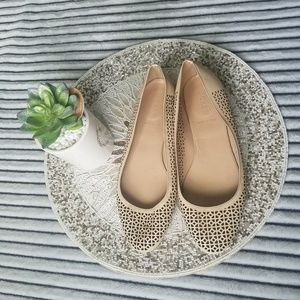 J Crew Italy Cream Cut Out Leather Flats 9